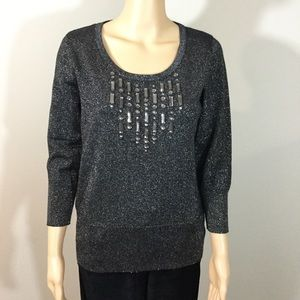 August Silk Embellished Sparkle Sweater